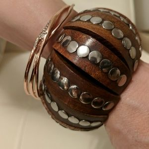 Jewelry - Vintage Studded Wood Bracelet
